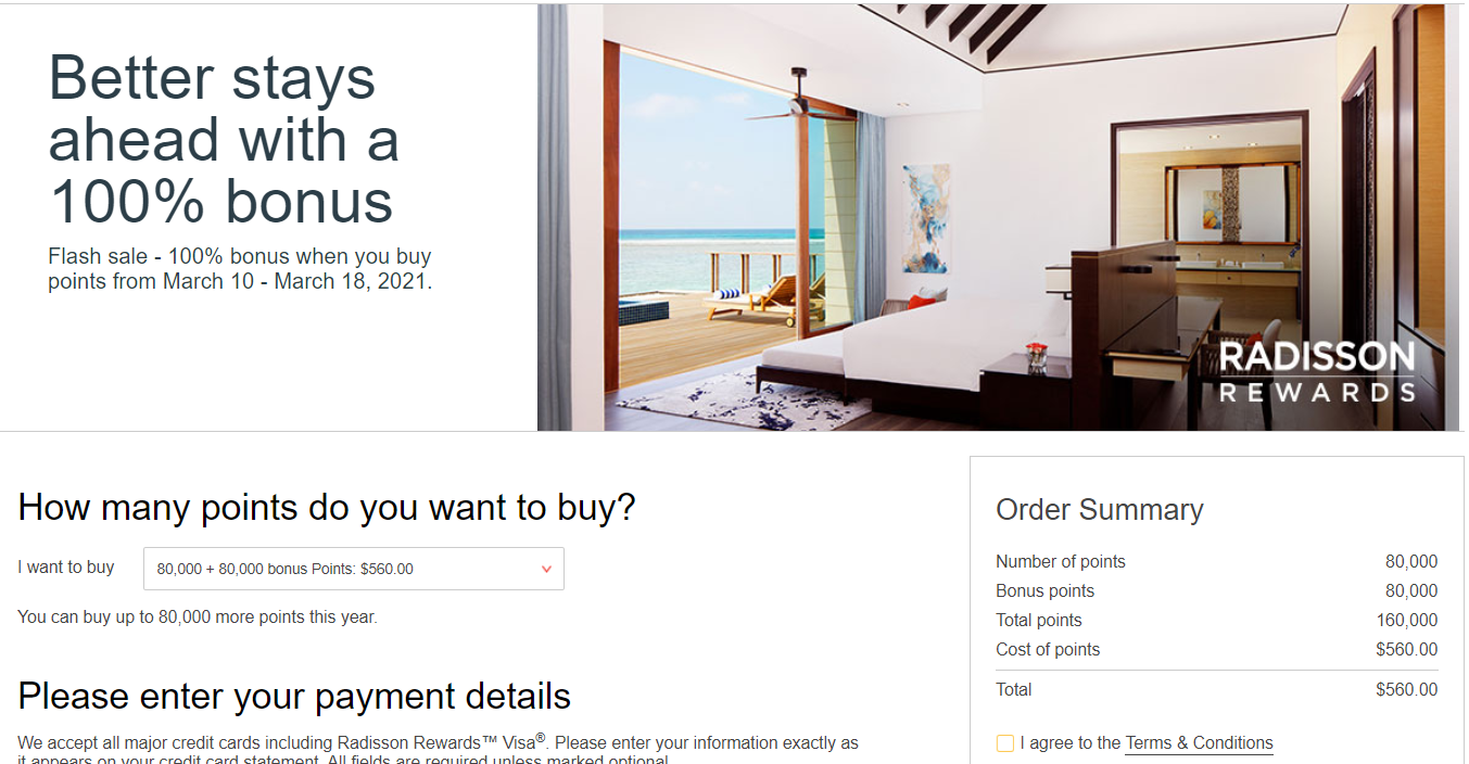 Radisson buy points promotion example