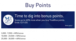 buy JetBlue points with a 60% bonus