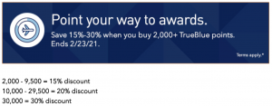 buy JetBlue points with a 30% discount