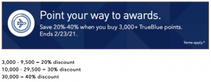 buy JetBlue points with a 40% discount