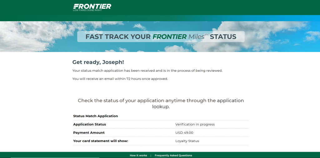 Confirmation that I submitted my Frontier elite status match