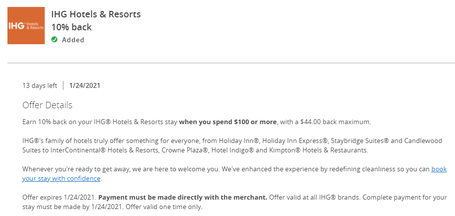 Chase Offers for IHG