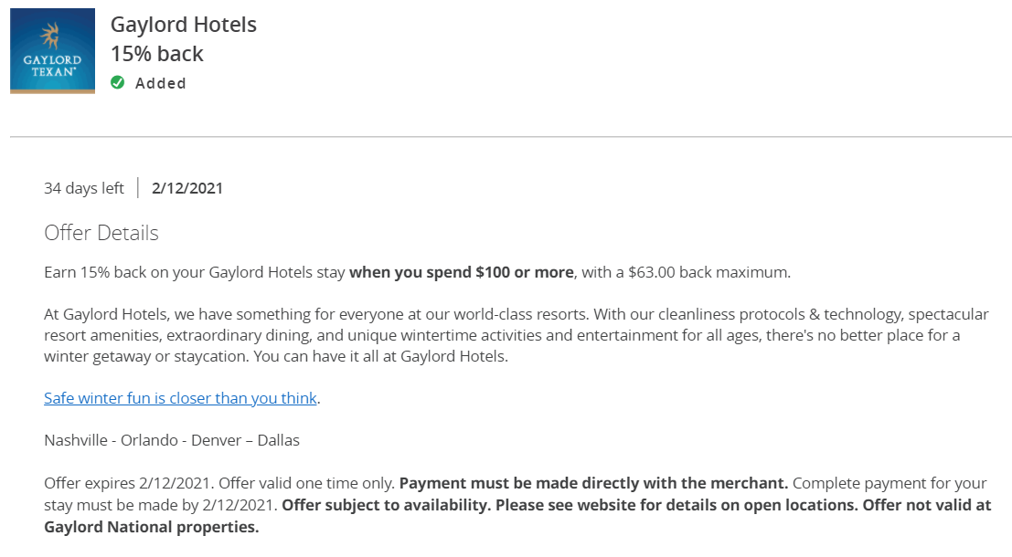 Amex Offers Gaylord Hotels