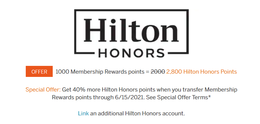 Amex to Hilton 40% Transfer Bonus