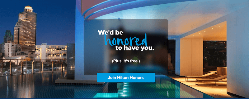 Hilton Honors Welcome Page