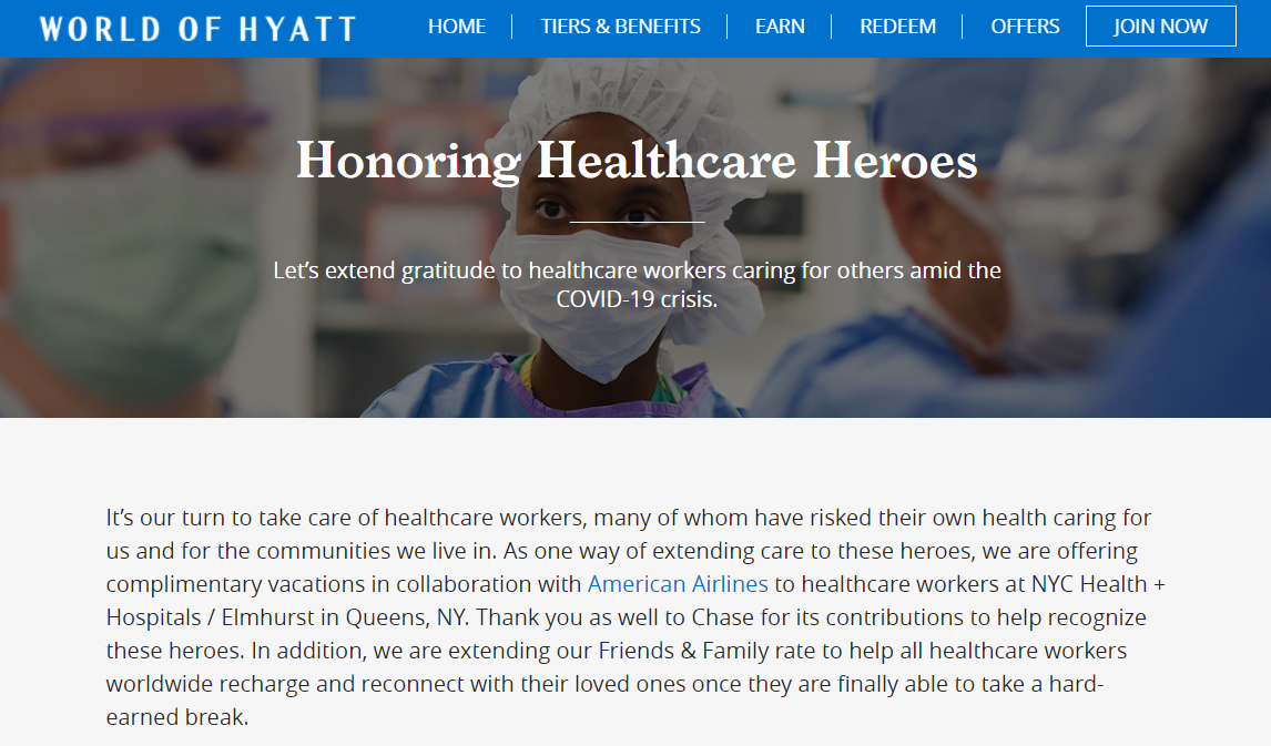 Hyatt discount for healthcare workers