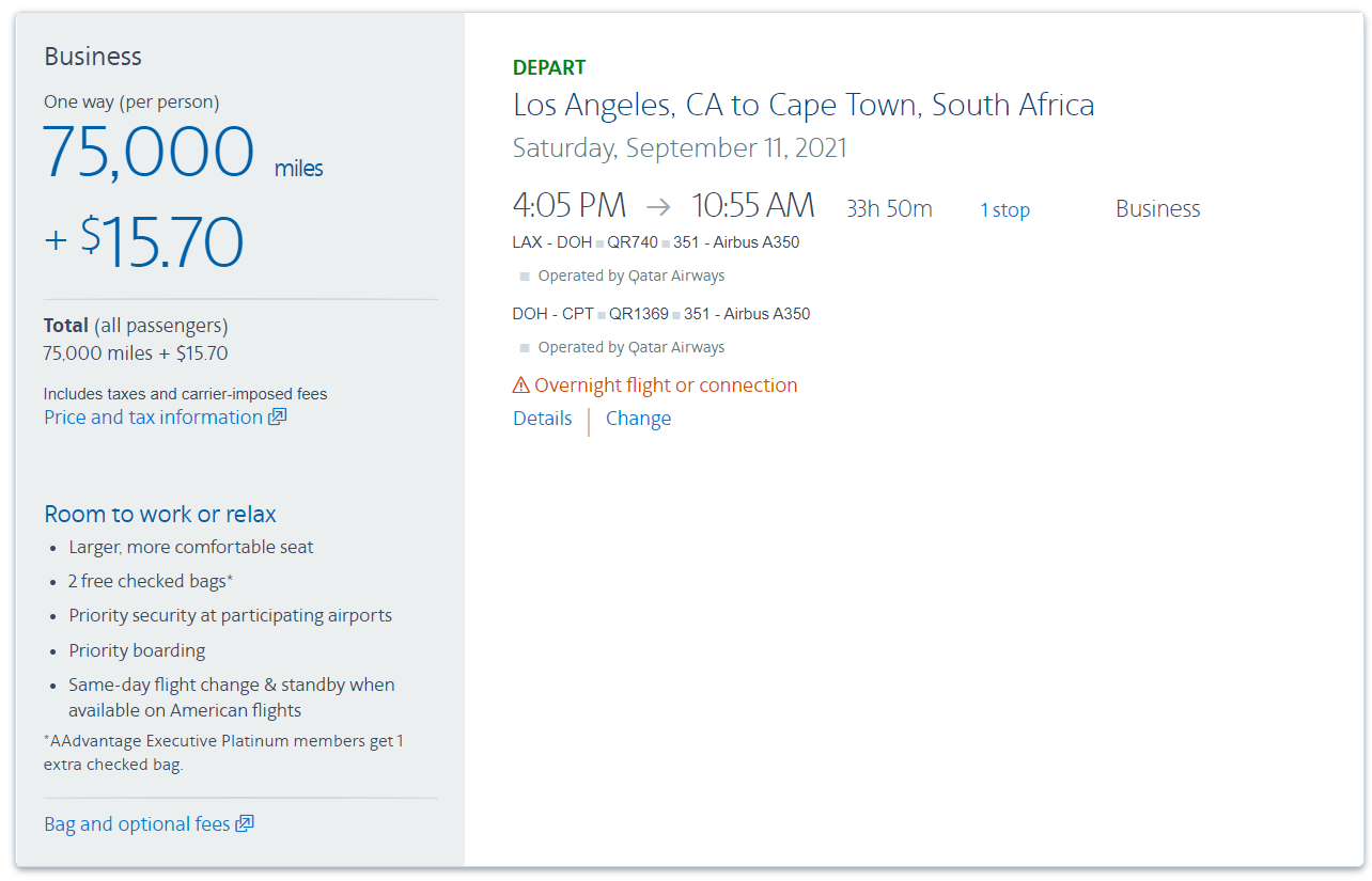 Use 75,000 AAdvantage miles for a business class flight to South Africa
