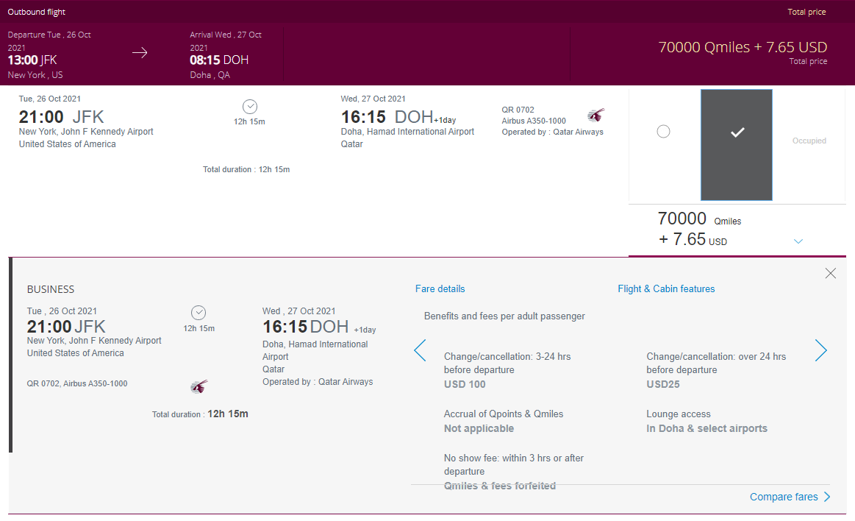 Qatar slashed the award price to Doha to 70k Qmiles