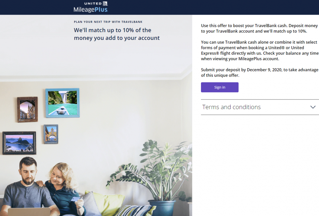 Get a bonus when funding your United TravelBank