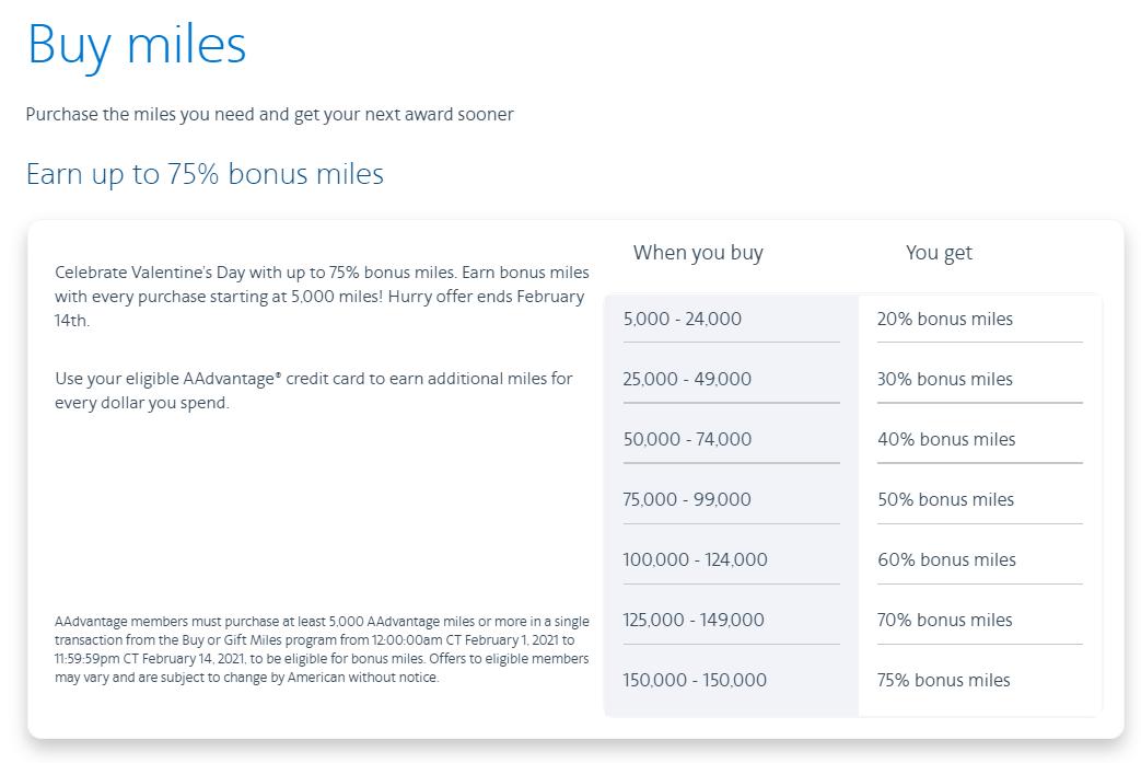 buy AA miles bonus chart February 2021