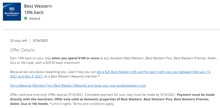 Chase Offer for Best Western