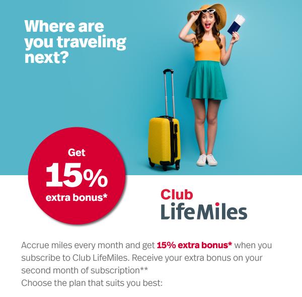 Club LifeMiles 15% Bonus banner