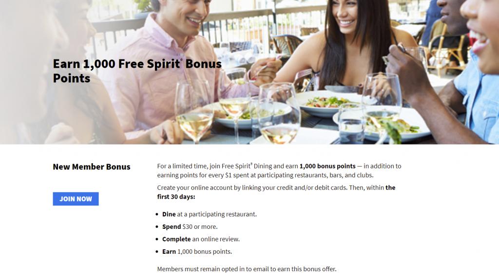 Free Spirit Dining Program New Member Bonus