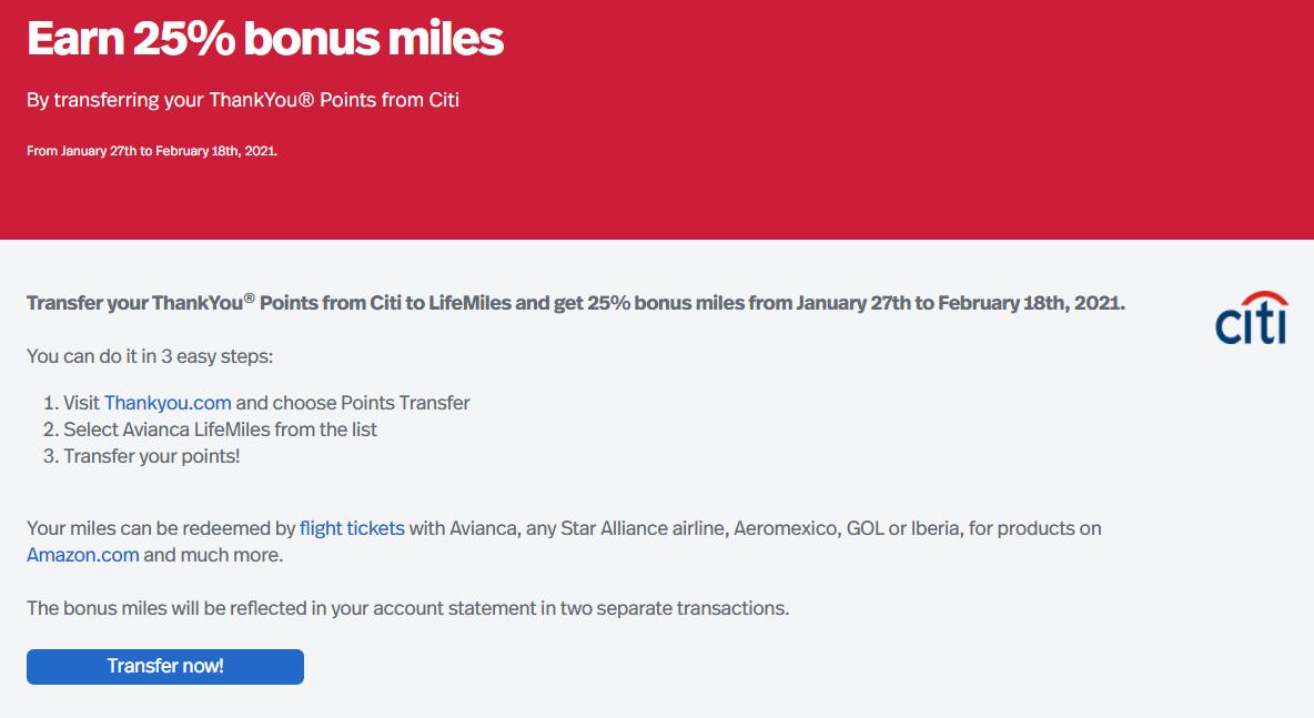 LifeMiles transfer bonus