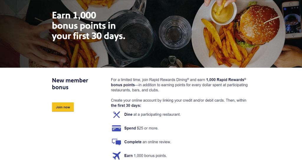 Southwest Rapid Rewards Dining Program New Member Bonus