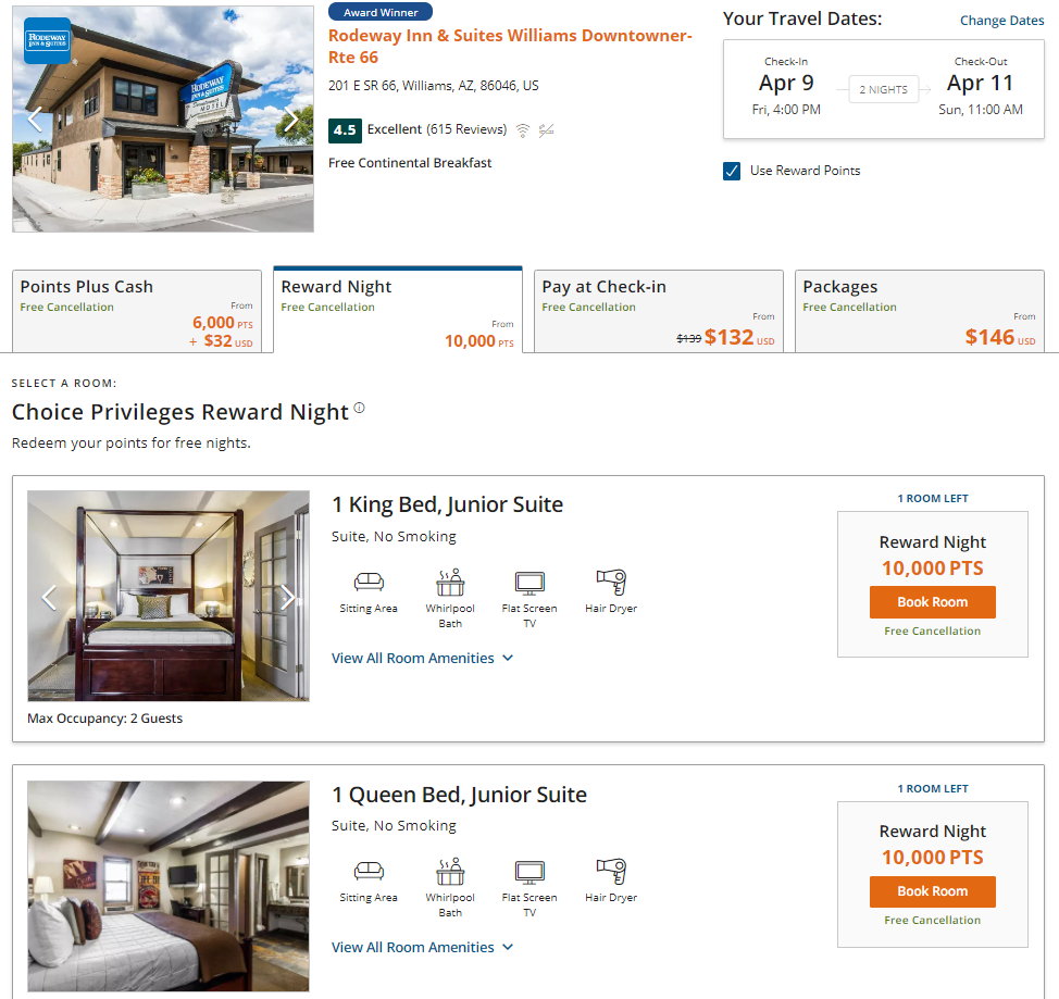 Buy Choice points for $71 per night