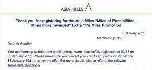 Asia Miles email about the transfer bonus