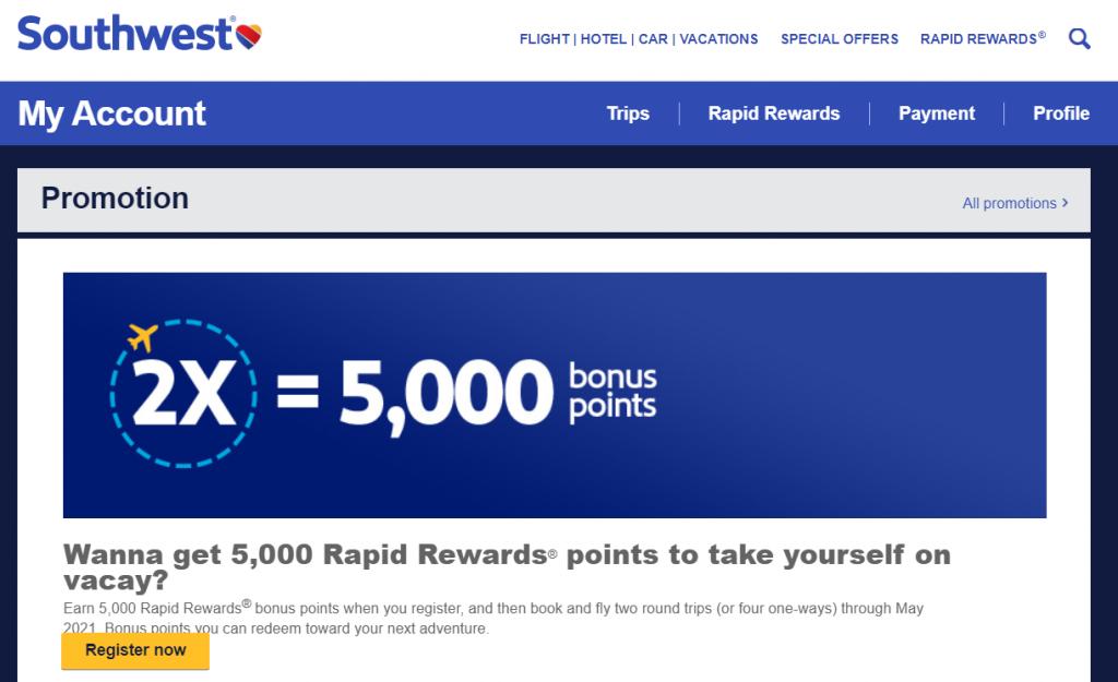 Southwest bonus point promotion