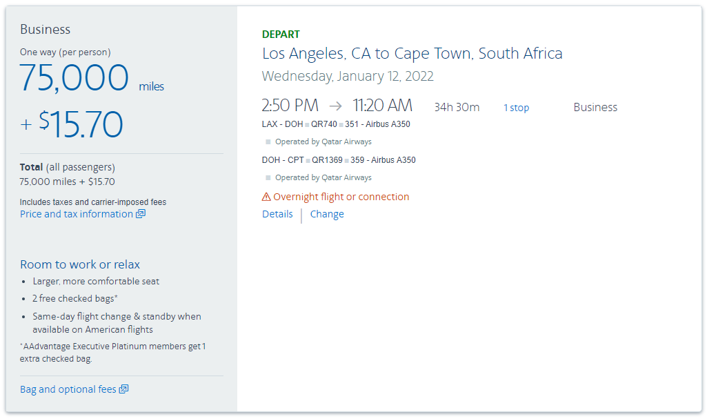 Purchase American Airlines miles to fly to South Africa