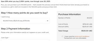 buy 60k Marriott points for $525