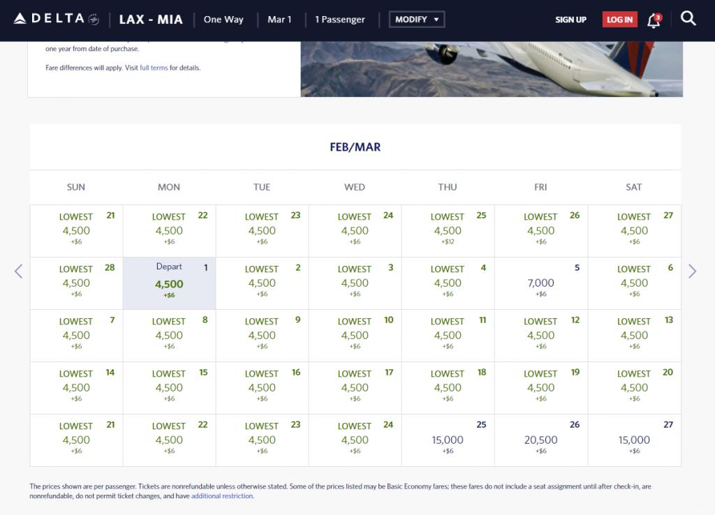 LAX-MIA for 4,500 Delta SkyMiles