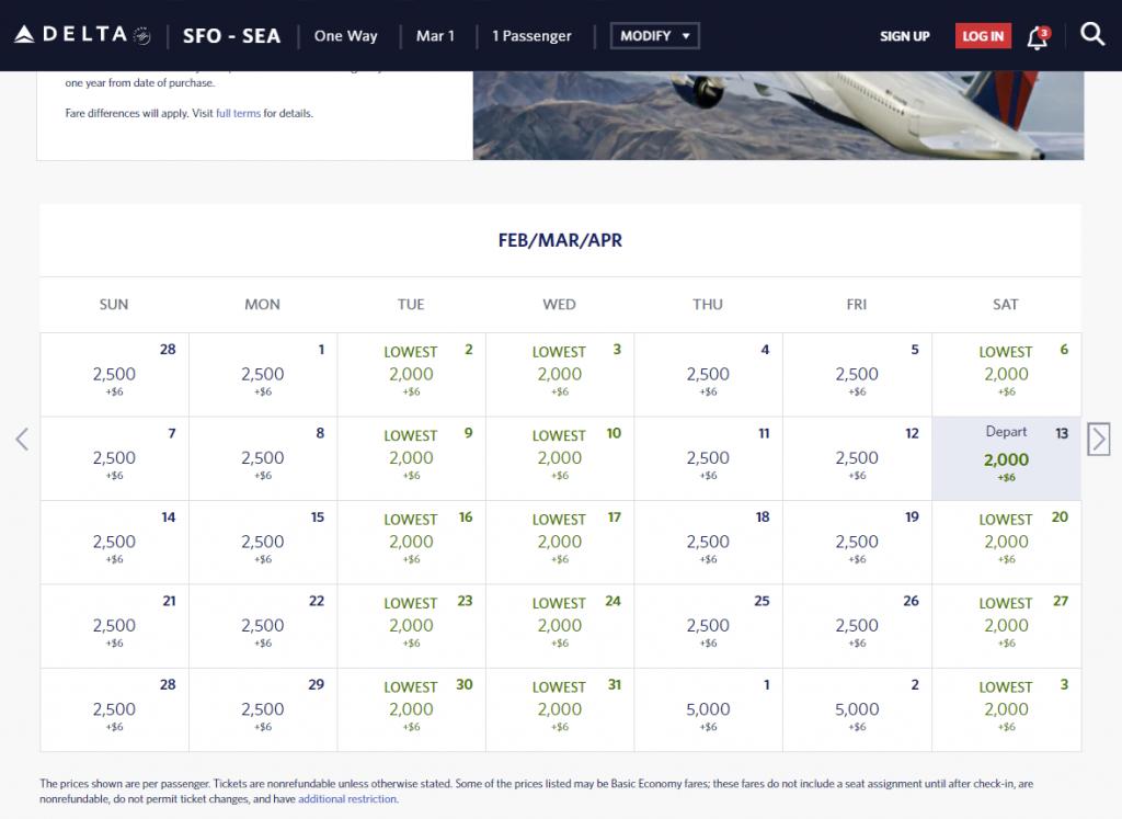SEA-SFO for 2,000 Delta SkyMiles