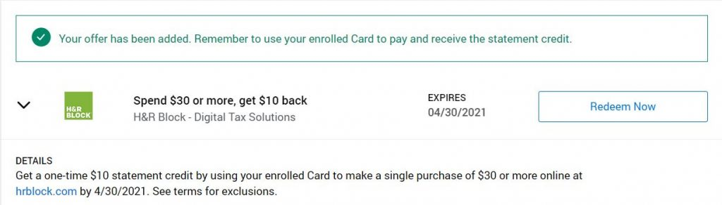 Save $10 when preparing your taxes with H&R Block through Amex Offer
