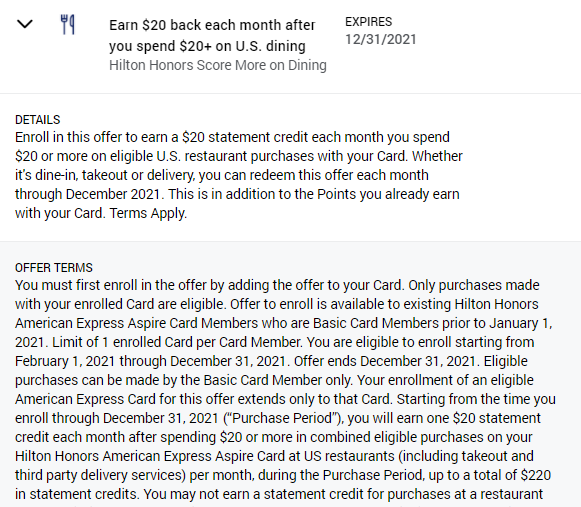 Amex Offer dining monthly statement credit on Hilton Aspire