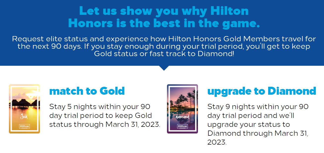 Hilton Honors 2021 elite status match requirements