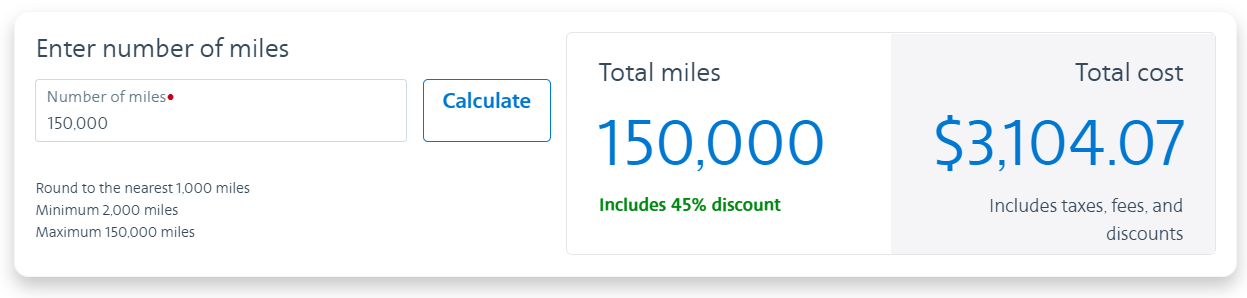 buy AA miles with a 45% discount