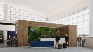 a rendering of the new Centurion Lounge in Seattle