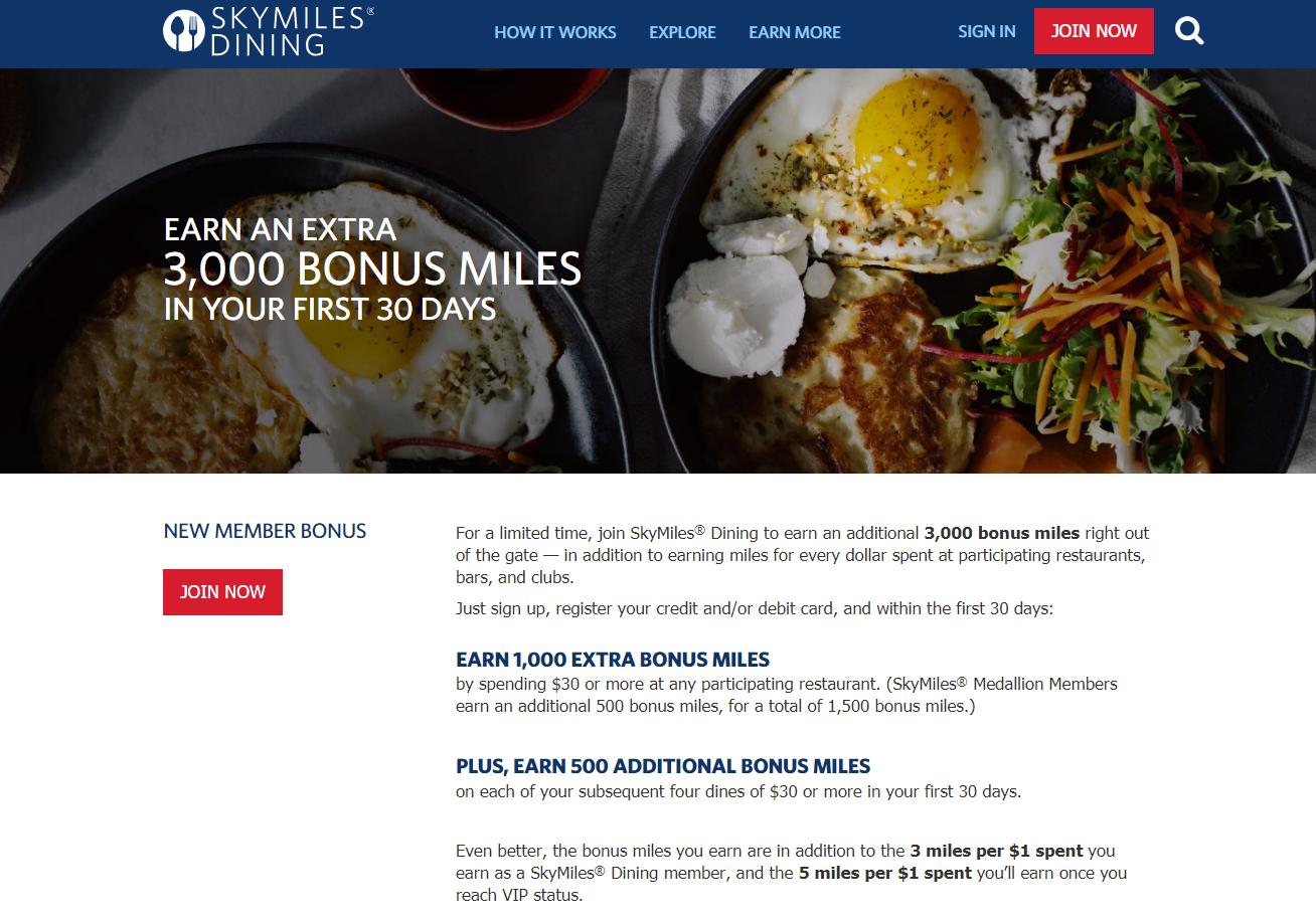 Delta SkyMiles Dining Program New Member Bonus