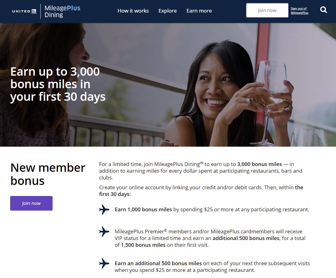 United MileagePlus Dining Program New Member Bonus