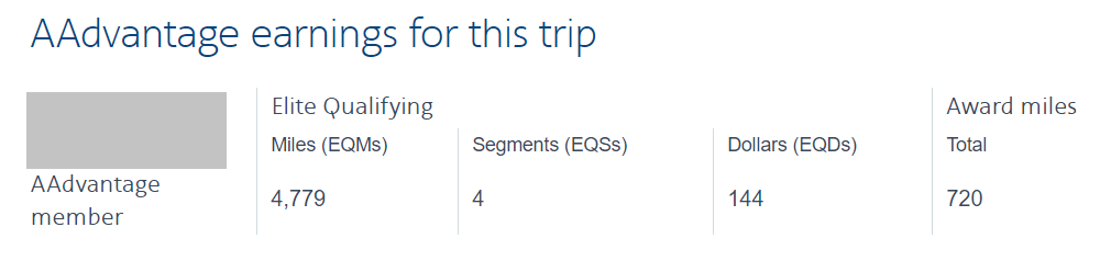 AA will show the EQD earnings on the trip confirmation page