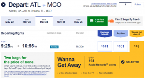 $49 Southwest flight from Atlanta to Orlando