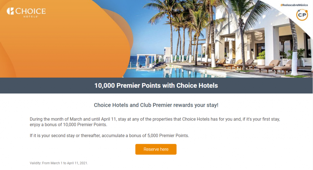 AeroMexico bonus points through Choice Hotels