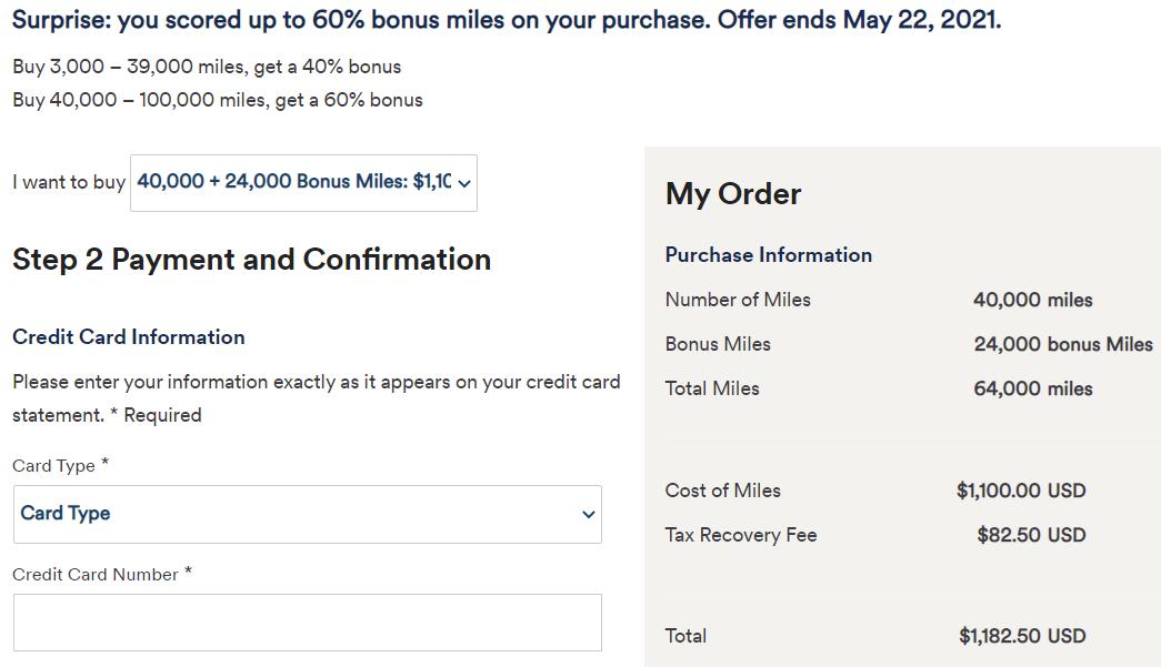 Alaska buy 40k miles with 60% bonus example
