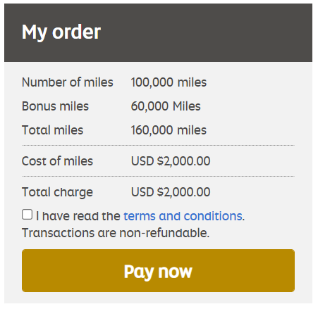 Etihad buy miles promotion 160,000 miles for $2,000