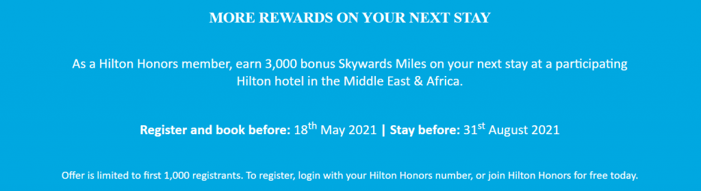 Emirates bonus miles on Hilton stays promotion