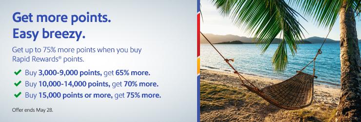 buy Southwest points with 75% bonus