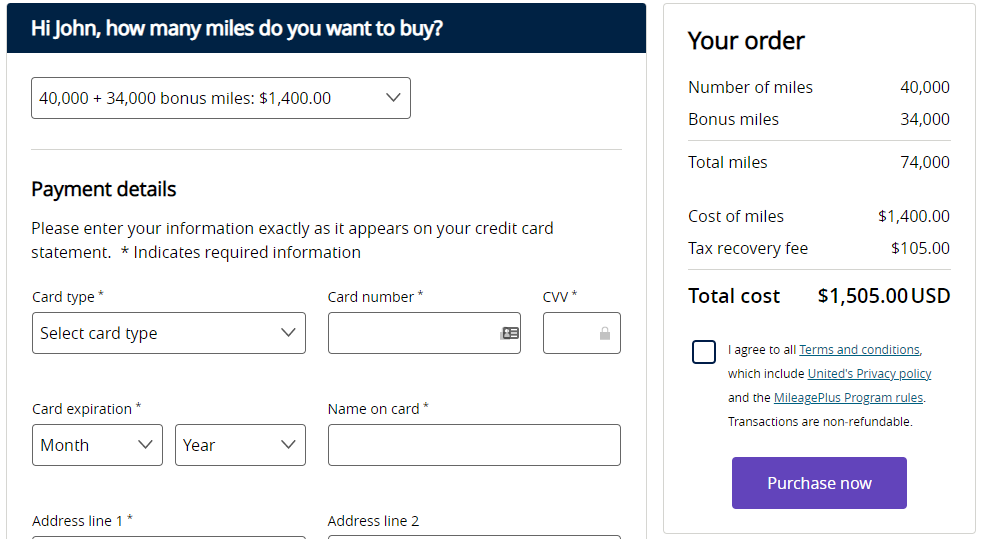 buy United miles with a 85% bonus starting when you buy 40k miles