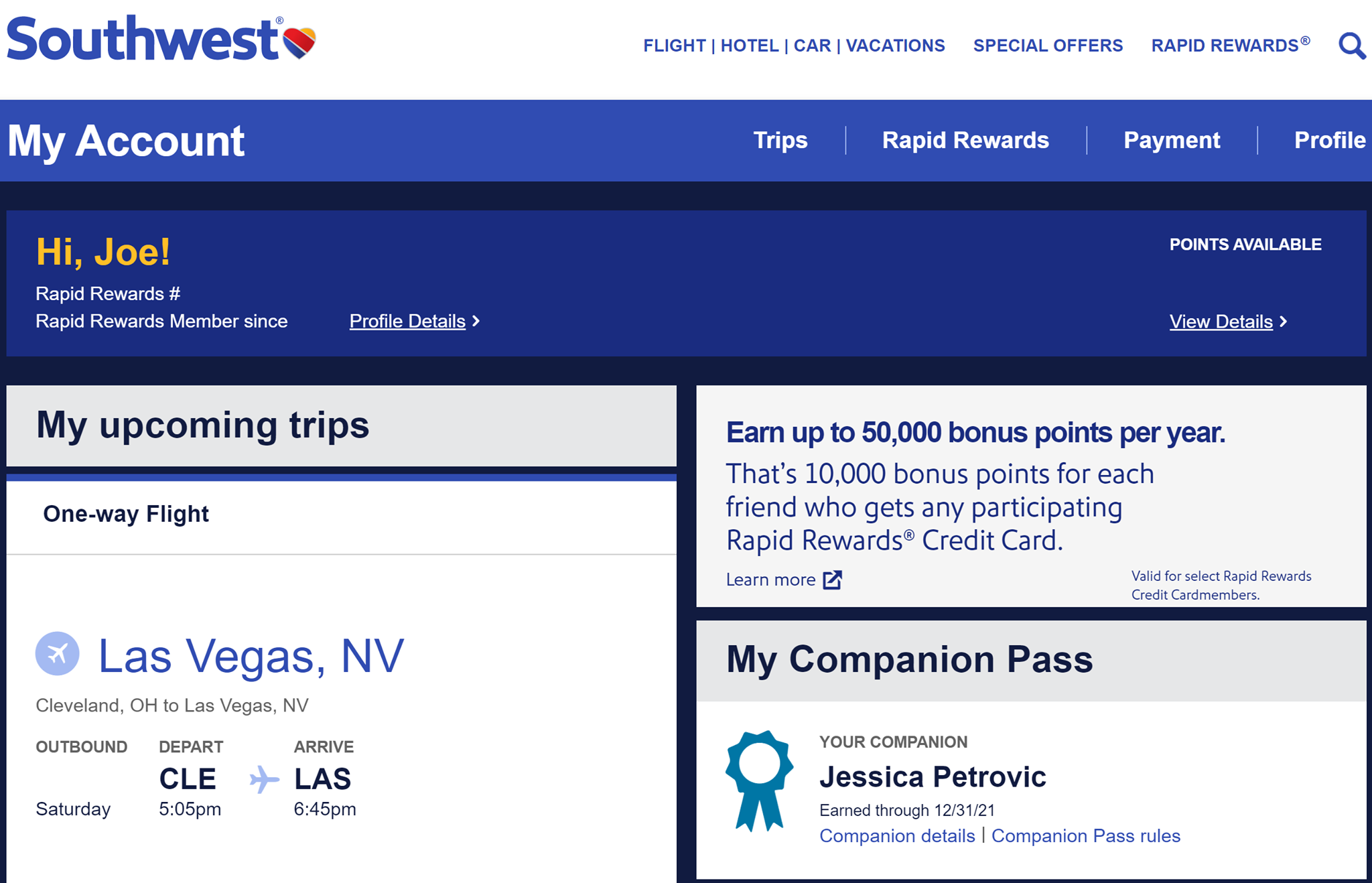 Southwest Companion Pass in Southwest My Account