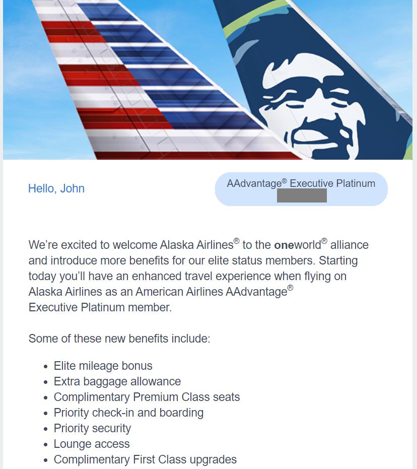 new AAdvantage elite perks when flying Alaska