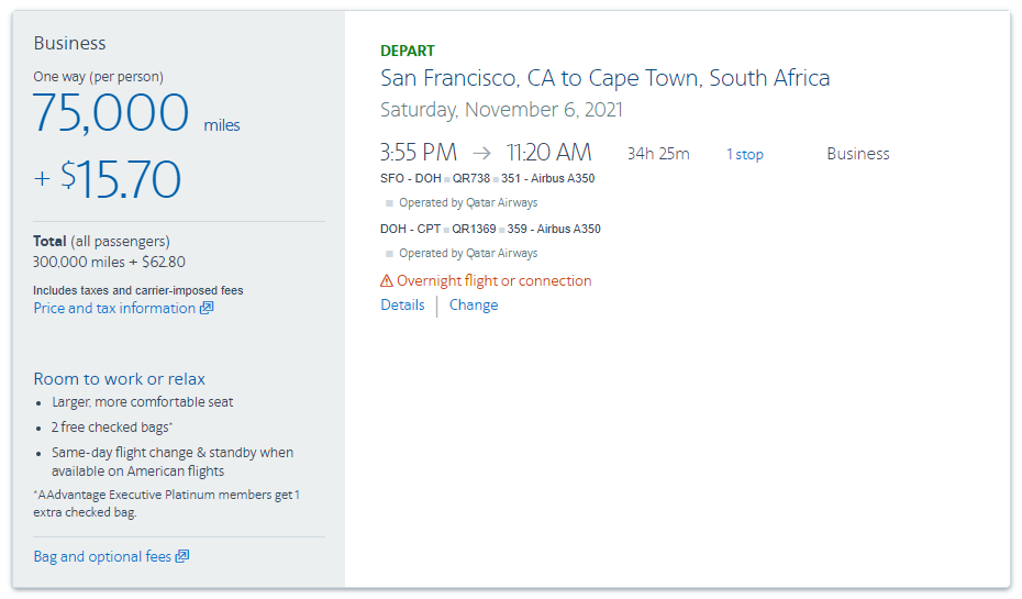 use 300k AAdvantage miles to fly to Cape Town in business class