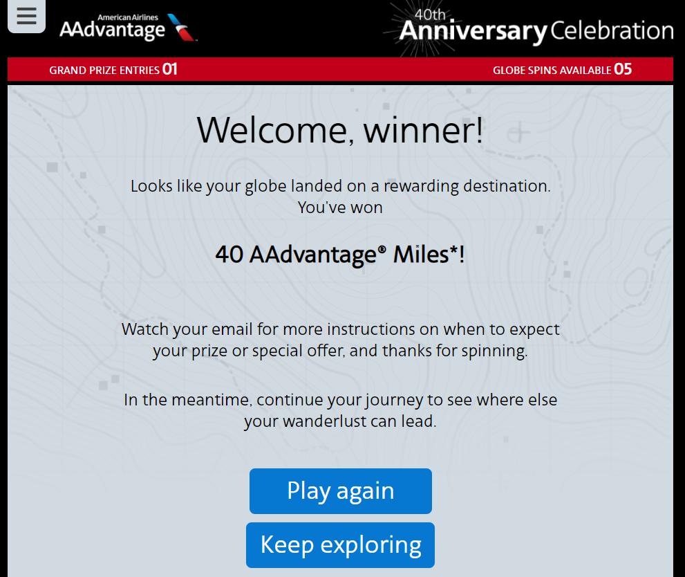 AAdvantage sweepstakes winner