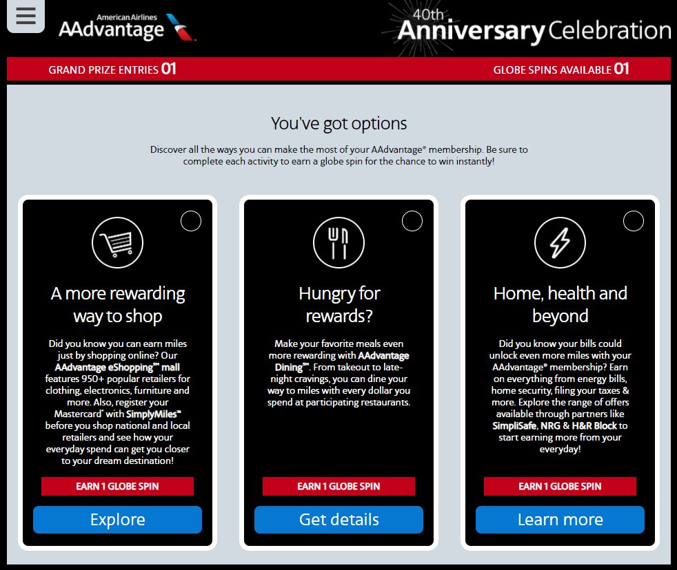 AAdvantage sweepstakes entry options
