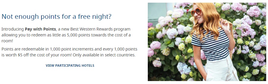 Best Western Pay with Points banner