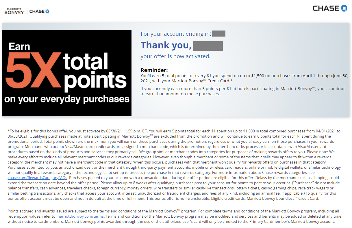 Chase 5X promotion Marriott points