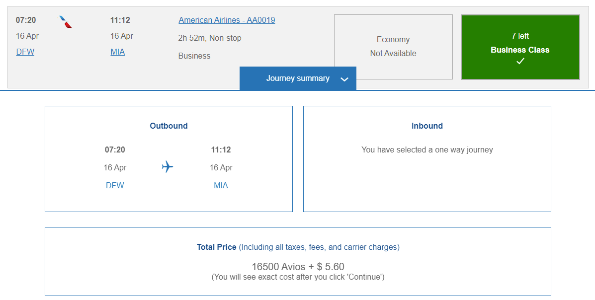 fly lie-flat business class on American Airlines for just 16,500 Avios