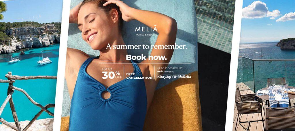 MeliaRewards summer bonus points and 30% off promotion